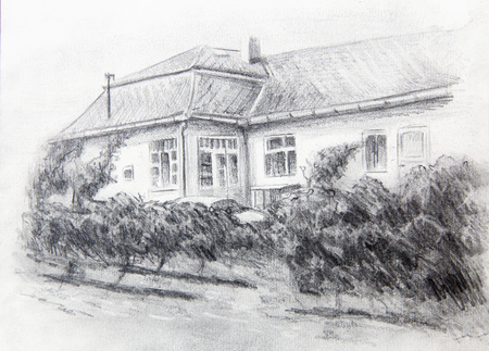garten: pencil drawning of a house with wine garten in the front Stock Photo