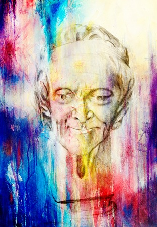social history: drawing of philosopher voltaire sculpture on abstract background Stock Photo