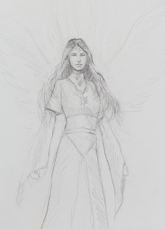 historic: drawing of mystical angel woman in beautiful historic dress