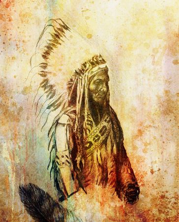 chief: drawing of native american indian foreman Sitting Bull - Totanka Yotanka according historic photography, with beautiful feather headdress