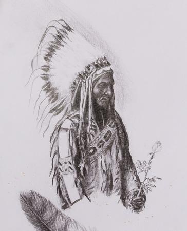 according: drawing of native american indian foreman Sitting Bull - Totanka Yotanka according historic photography, with beautiful feather headdress, holding rose flower