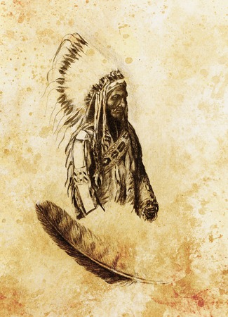 sioux: drawing of native american indian foreman Sitting Bull - Totanka Yotanka according historic photography, with beautiful feather headdress