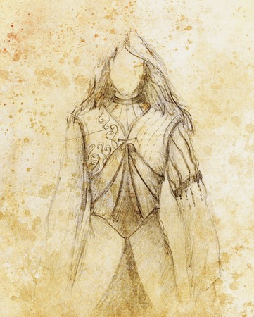 middle age woman: sketch of mystical woman  in beautiful ornamental dress  inspired by middle age design Stock Photo