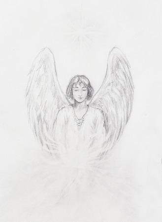 dessin au trait: dessin d'ange avec de belles ailes sur un papier Banque d'images