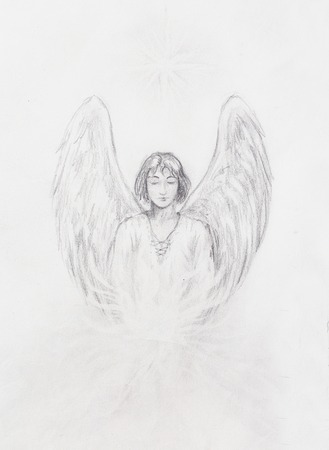 angel white: drawing of angel with beautiful wings on a paper Stock Photo