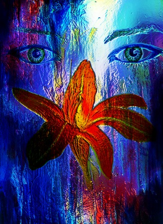 lilly: woman eyes with lilly flower, computer collage and glass effect, Computer collage