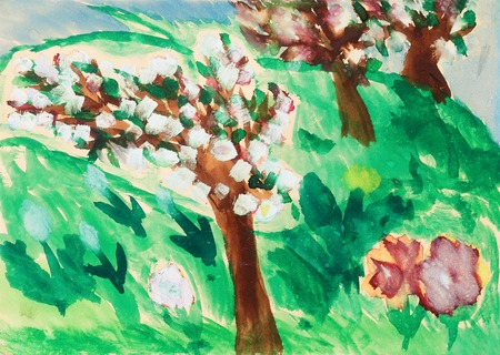 garten: child drawing of apple tree garten  in bloom Stock Photo