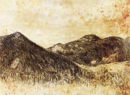 samara: landscape painting and mountain  on old paper background Stock Photo