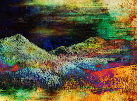 samara: landscape painting on old paper and Color Abstract background