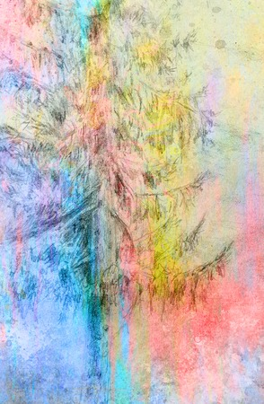 tirol: pencil drawing spruce on old paper background and Color Abstract background