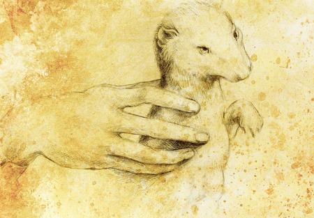 Zeichnung nach Leonaqrdo daVinci, Detail mit der Hand zu berühren Hermelin