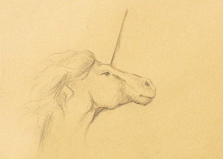 chronicle: Pencil deawing Drawing pencil unicorn on old paper, vintage paper
