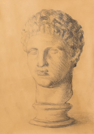bust: Hand drawn man head, Gypsum bust drawn. Rome Empire man