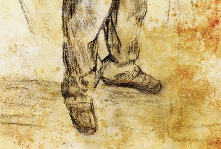 piernas hombre: arte piernas del hombre de dibujo y color de fondo abstracto Foto de archivo