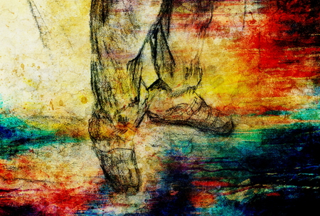 art drawing man legs and color abstract  background Stock Photo