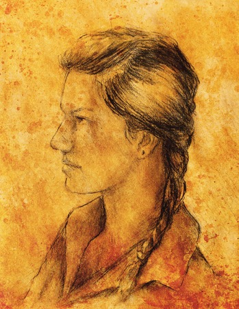 tempera: art drawing beautiful girl face and sepia background