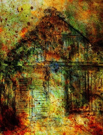 dilapidated: Cottage hand drawing and wild grapevine. Draving on old paper. Color effect