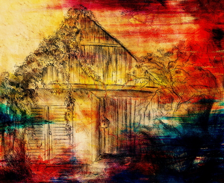 grapevine: Cottage hand drawing and wild grapevine. Draving on old paper. Color effect