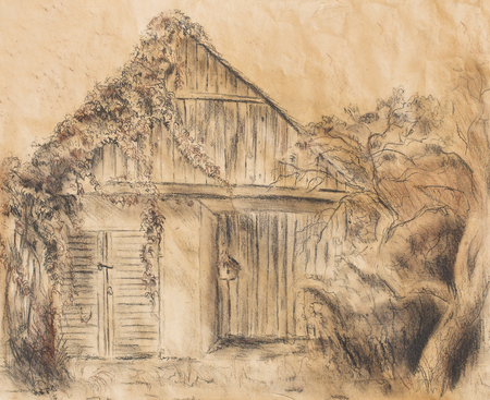rickety: Cottage hand drawing and wild grapevine. Draving on old paper