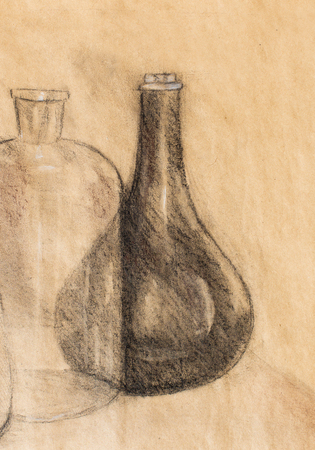 pencil drawings: Drawing Carafe on vine. Original hand draw