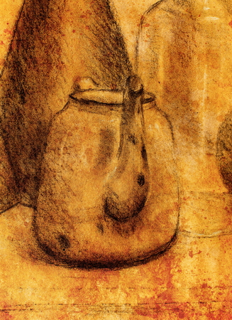 raster artistic: Drawing tea kettle on old paper. Original hand draw