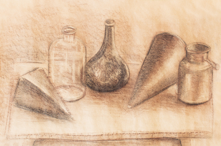 fulvous: still life drawing. Original hand draw on paper