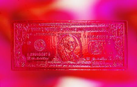 1 ドル、色、ガラスの効果。コンピューターのコラージュ