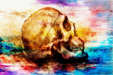 black men: painting skull  on paper and abstract color effect