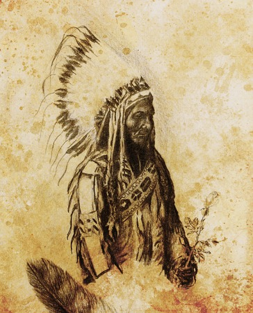 sioux: drawing of native american indian foreman Sitting Bull - Totanka Yotanka according historic photography, with beautiful feather headdress, holding rose flower