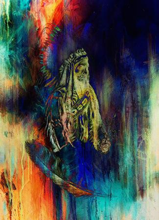 according: drawing of native american indian foreman Sitting Bull - Totanka Yotanka according historic photography, with beautiful feather headdress. Computer collage Stock Photo