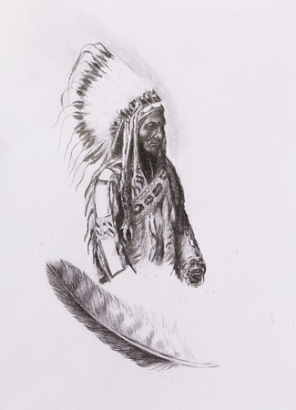 according: drawing of native american indian foreman Sitting Bull - Totanka Yotanka according historic photography, with beautiful feather headdress