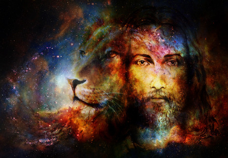 painting of Jesus with a lion in cosimc space, eye contact and lion profile portrait Foto de archivo