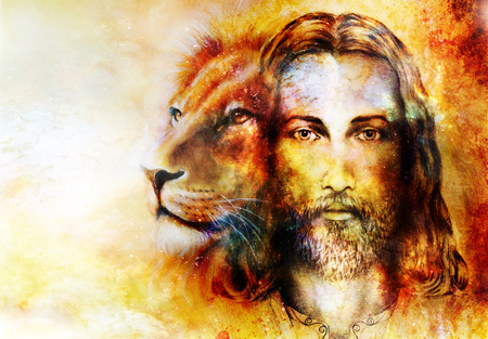 painting of Jesus with a lion, on beautiful colorful background with hint of space feeling, lion profile portrait 스톡 콘텐츠