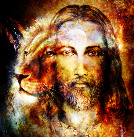 painting of Jesus with a lion, on beautiful colorful background with hint of space feeling, lion profile portrait Standard-Bild