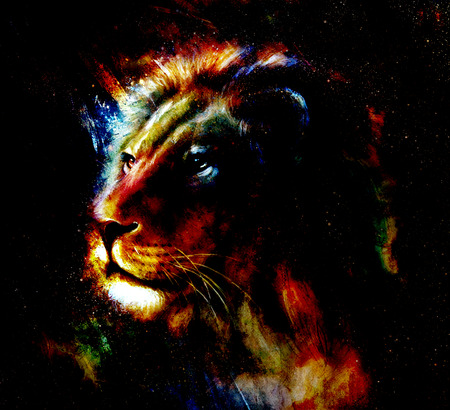 gazing: Lion painting on abstract color background. Profile portrait