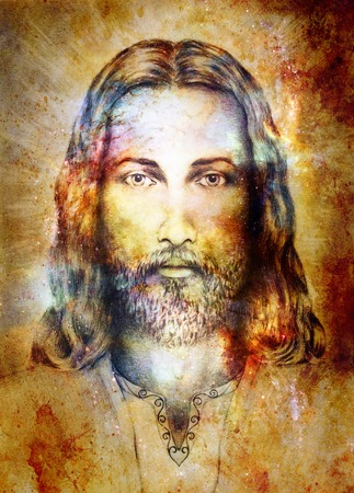 Jesus Christ painting with radiant colorful energy of light, eye contact 스톡 콘텐츠