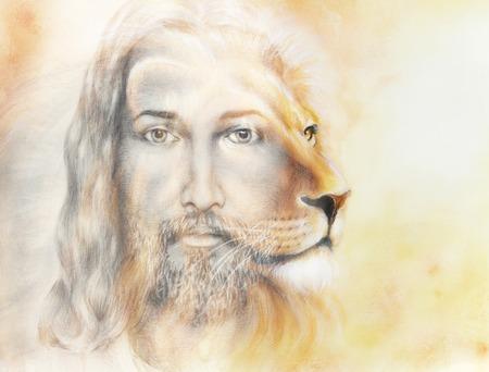 Pintura de Jesús con un león, sobre fondo colorido hermoso, contacto visual y retrato de perfil de león Foto de archivo