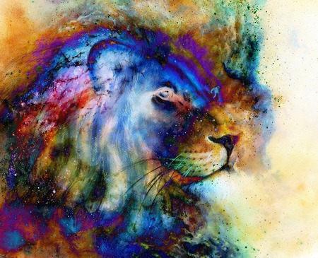 hint: rainbow lion on beautiful colorful background with hint of space feeling, lion profile portrait Stock Photo