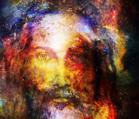 Jesus Christ painting with radiant colorful energy of light in cosmic space, eye contact Stockfoto