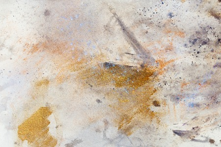 structure metal: abstract painting with blurry and stained structure. metal rust effect with glitter grains. Painting on old paper Stock Photo