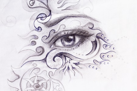 renaissance woman: woman eye with ornament, pencil drawing, eye contact