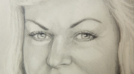 eye close up: attractive woman eye - close up pencil drawing Stock Photo