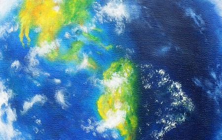 continente americano: Planeta Tierra. La pintura original sobre lienzo. continente americano