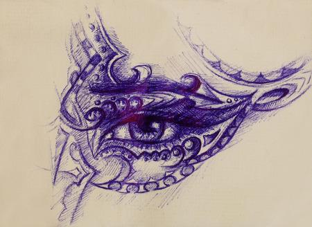 femme oeil avec ornement, dessin à la plume, le contact visuel Banque d'images