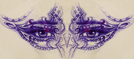 eye contact: woman eyes with ornament, pen drawing, eye contact