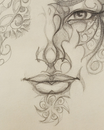 eye contact: Man face with ornament, pencil drawing, eye contact