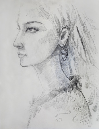 hindus: pencil drawing on paper, indian woman  and feathers in hair