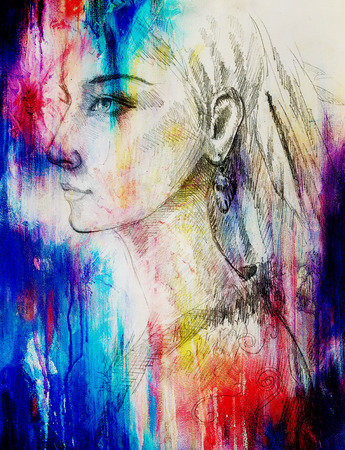 beautiful eyes: pencil drawing on paper, indian woman  and feathers in hair. Color effect and Computer collage