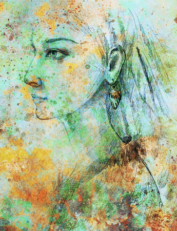 hair color: pencil drawing on paper, indian woman  and feathers in hair. Color effect and Computer collage