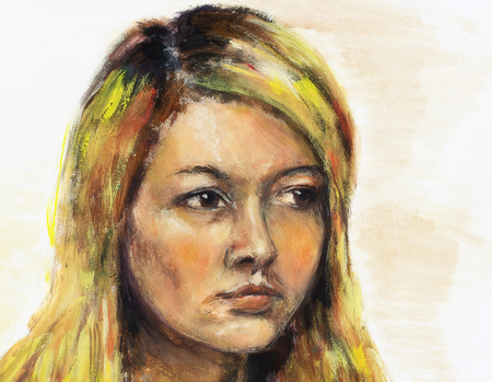 beautiful girl face: art colorful painting beautiful girl face and white background